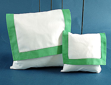 Envelope Pillow.White with Green border. Small 8 inches