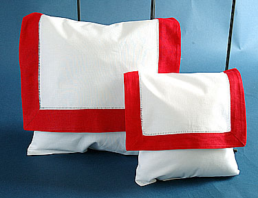 Envelope Pillow. White with Red border. Small 8 inches.