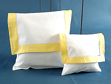 Envelope Pillow. White with Yellow. Large size 12 inches