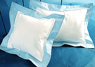 Fashions Designer Baby pillow. White Blue trims. 12 in. square
