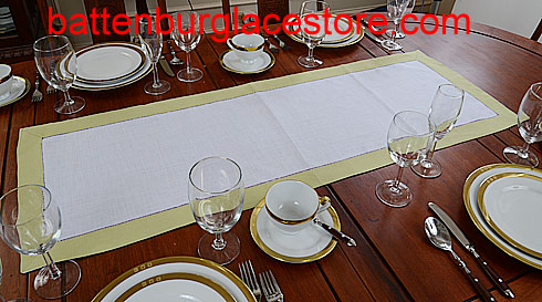Table runner. White with Celery Green. 16x45""