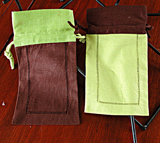 Sachet Bag. Brown with Macaw Green, Soft Green with Brown (set)