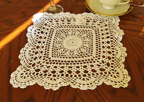 "Square Crochet Doilies. 12"" Square. Wheat color. 2 pieces pack"