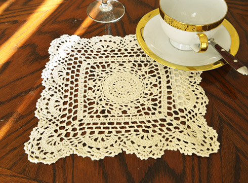"Square Crochet Doily. 10"" Square Crochet. Wheat color. 4 pieces"