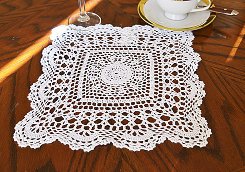 "Square Crochet Doilies. 12"" Square. White color. 2 pieces."