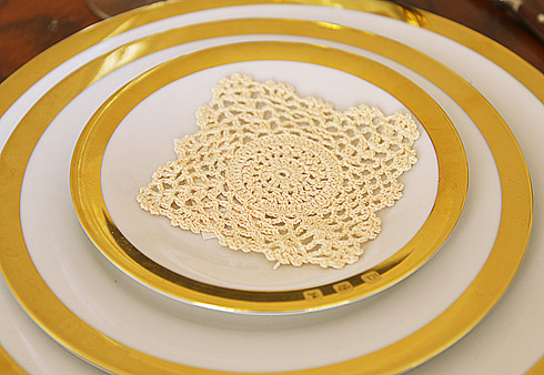 "Square crochet doilies. 4"" square. Wheat color. 12 pieces pack."