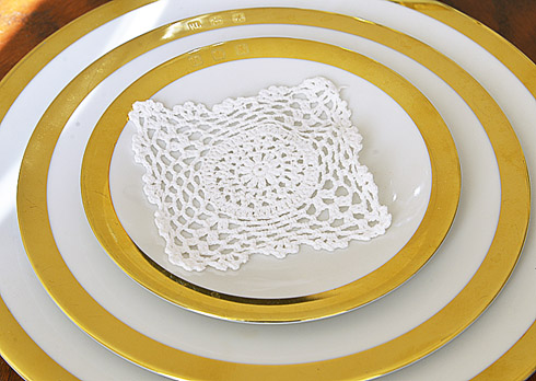 "Square Crochet Doily. 4"" square. White color. 12 pieces pack."