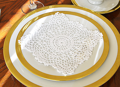 "Square Crochet Doilies. 6"" square. White color. 12 pieces pack."