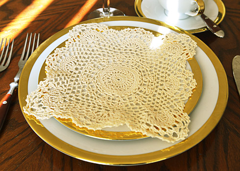 "Square Crochet Doilies. 8""square. Wheat color. 6 pieces pack."
