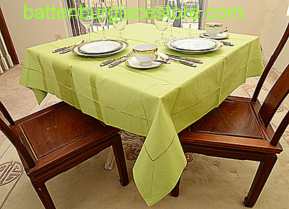 Square Tablecloth.MACAW GREEN color. 54 inches square.
