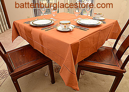 Square Tablecloth.RAW SIENNA color. 54 inches square